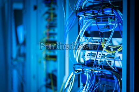 network hub cable lan close up