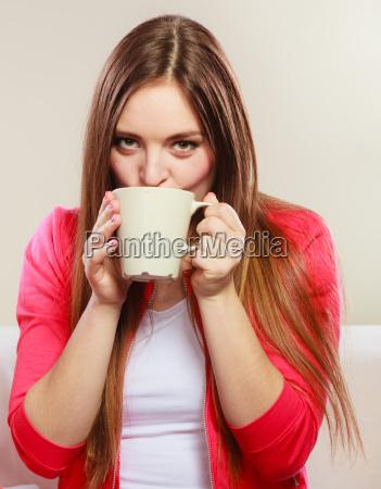 woman drinking hot coffee beverage caffeine