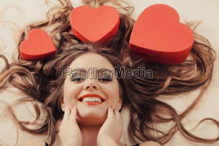 portrait of happy woman valentines day