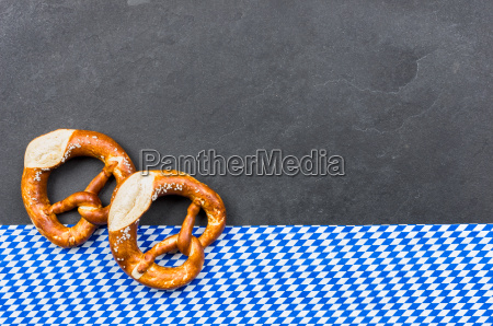 slate plate with pretzels with a