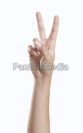 hand makes peace signs