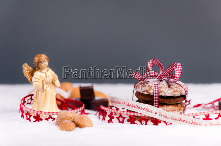 christmas biscuits and nuts festively decorated