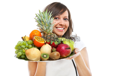 young woman with fruits young woman