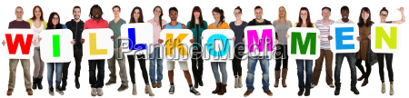 group young people multiculturally keep word