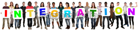 group young people multicultural lythink word
