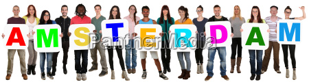 group young people multicultural lyoculture hold