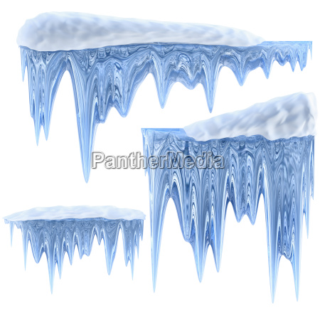 set of hanging thawing icicles of