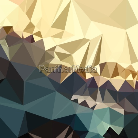 ecru brown blue abstract low polygon