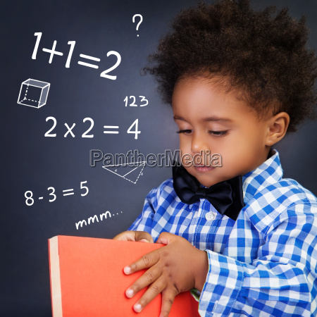little boy on math lesson