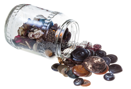 glass jar with sewing buttons isolated