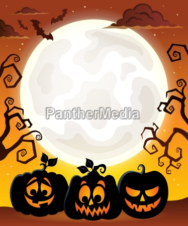 moon with halloween pumpkin silhouettes