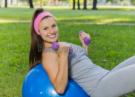 fitness healthy smiling young woman exercise