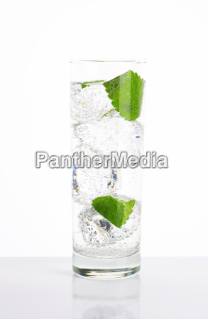 fresh water with mint and ice