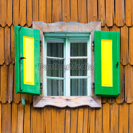 colorful vintage wooden window shutters