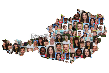 austria map people young people group