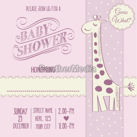 baby girl shower card with retro