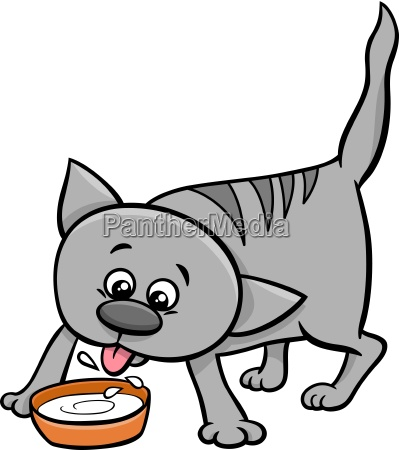 kitten drink milk cartoon