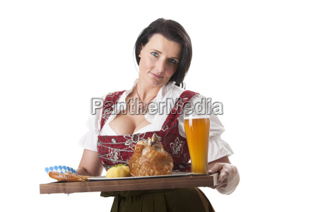 bavarian woman in a dirndl with
