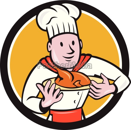 chef cook roast chicken dish circle
