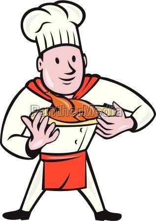chef cook roast chicken dish cartoon