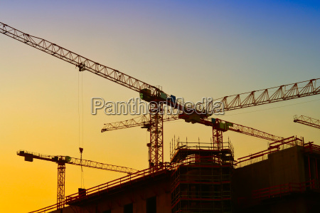 construction cranes on the construction site