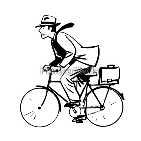 businessman quickly rides bicycle line art