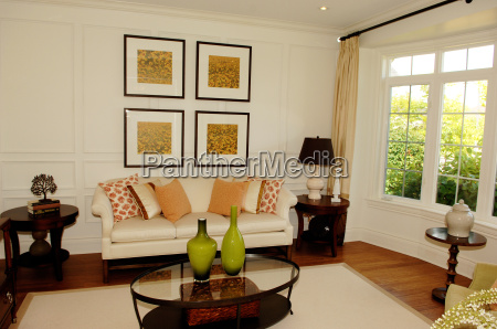 open space living room with window