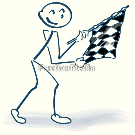 stick figure with checkered flag