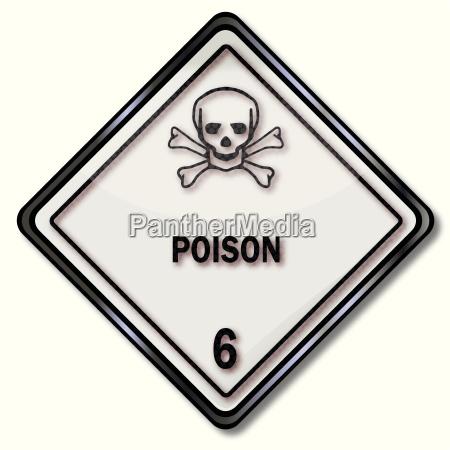 danger sign 6 poison with skull