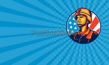 business card american serviceman soldier flag