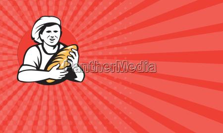 business card baker holding bread loaf