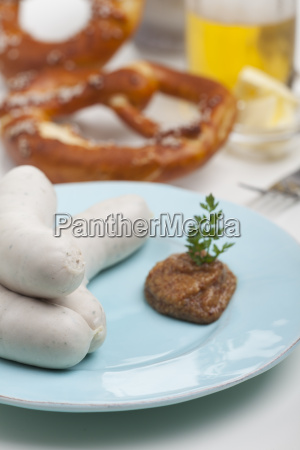 bavarian veal sausage with mustard
