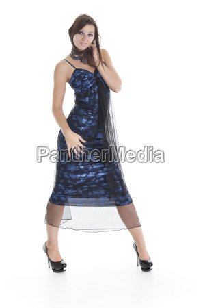 woman isolated in an evening dress