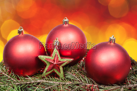 xmas red bauble and star on