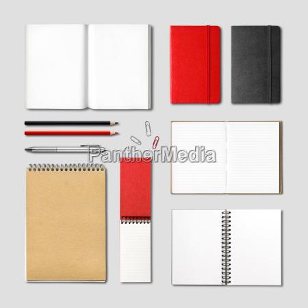 stationery books and notebooks mockup