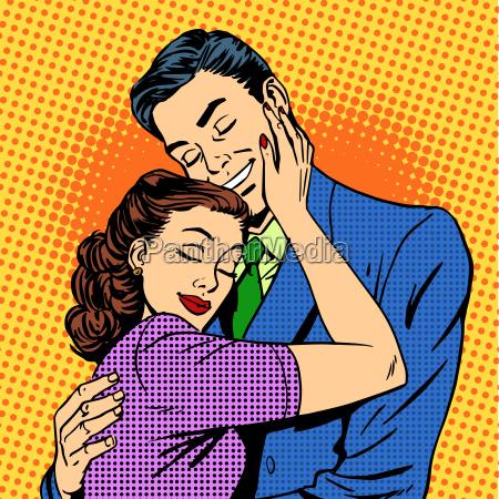 couple in love hugging husband wife