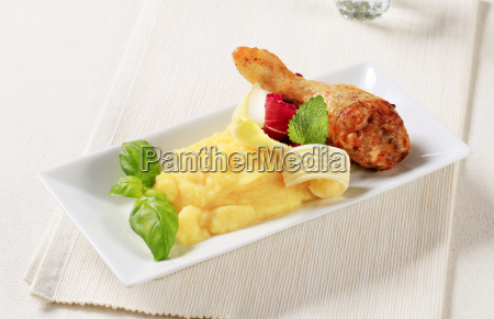 roasted chicken drumstick and mashed potato