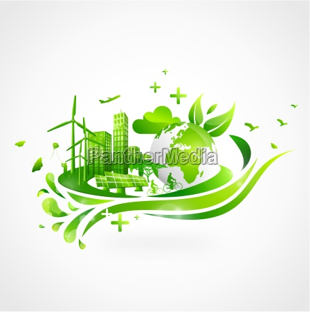 green city with earth