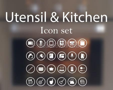 utensil and kitchen icon set