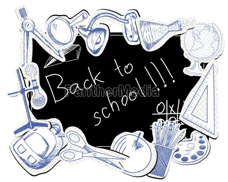 blackboard with educational symbols
