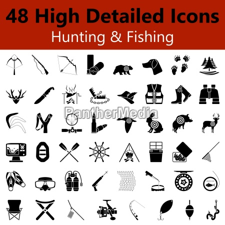 hunting and fishing smooth icons