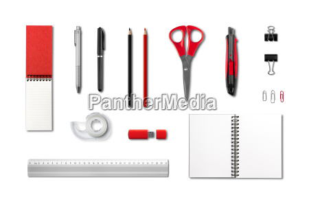 stationery office supplies mockup template white