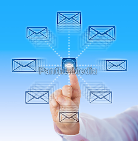 index finger sending email icons into