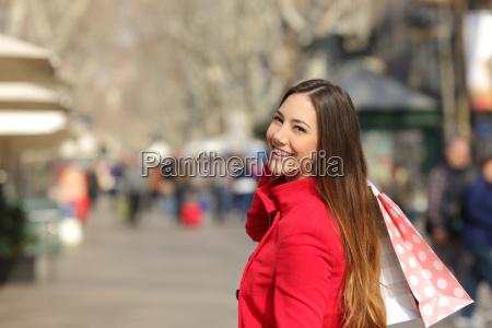 shopper woman shopping in the street