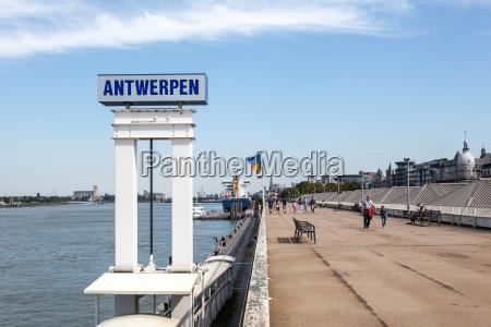 waterfront promenade in antwerp belgium