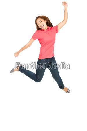 extreme celebration jumping asian woman fist