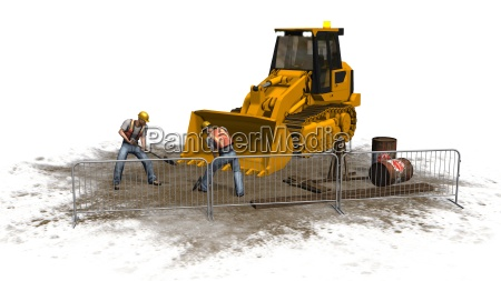 wheel loaders bulldozers and construction workers