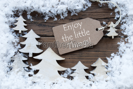 label christmas trees and snow enjoy