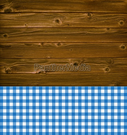 rustic wood background and blue table
