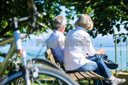 senior woman and man at break